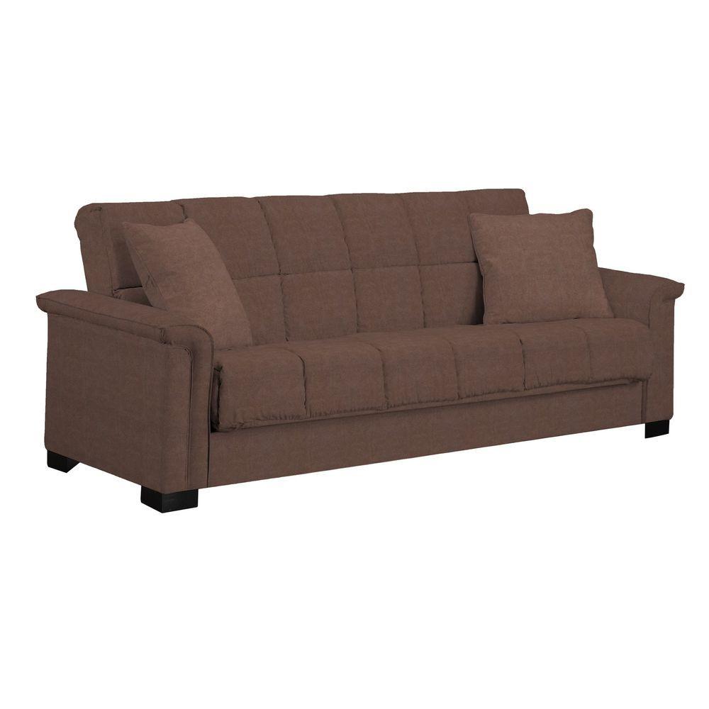 Contemporary Microfiber Convert A Couch Pillow Top Full Size Sleeper Sofa Brown Portfolio Sleeper Sofa Couch Handy Living Sleeper Sofa