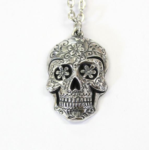 39a405c6b Sugar Skull Pendant, Large Sugar Skull Necklace Silver Sugar Skull Jewelry  - Day of the Dead