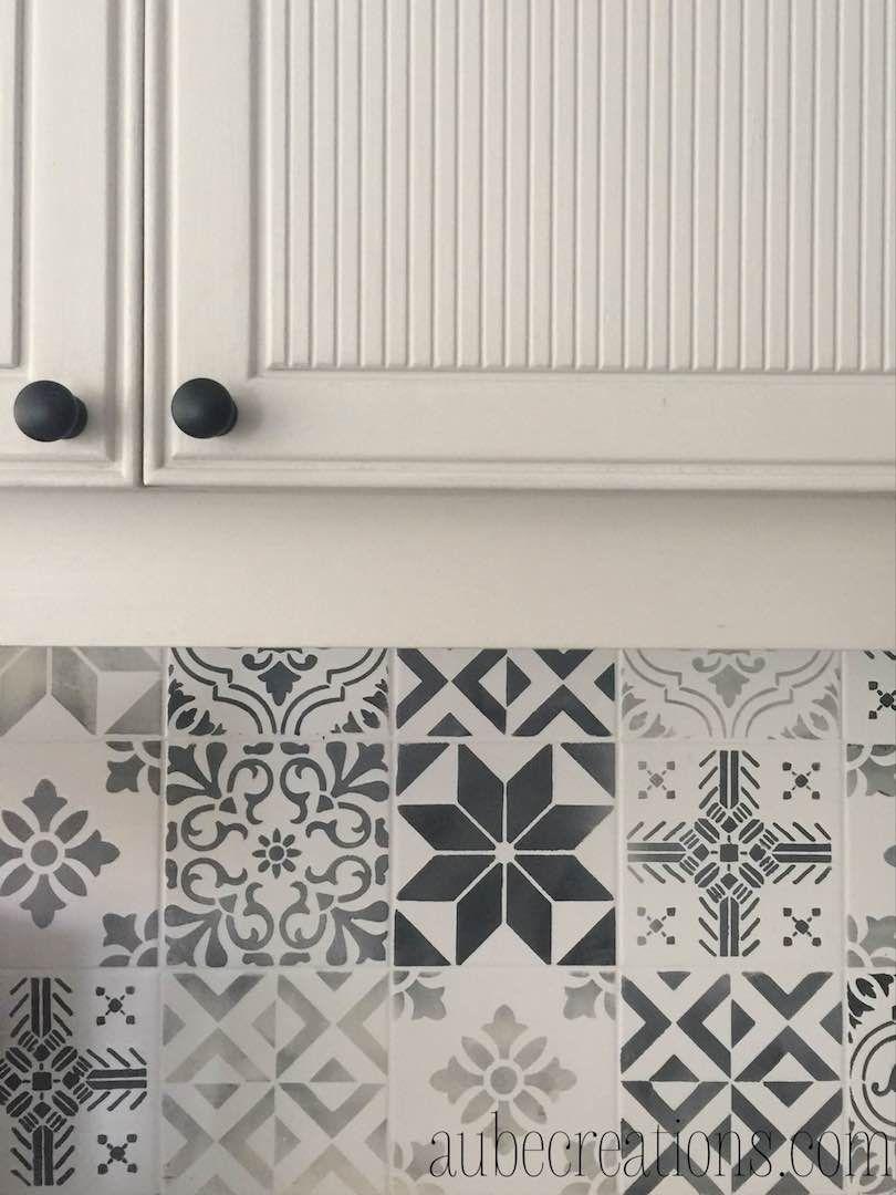 Peindre Carrelage Mural Avec Des Pochoirs Pour Un Look Carreaux De Ciment à  La Marocaine /