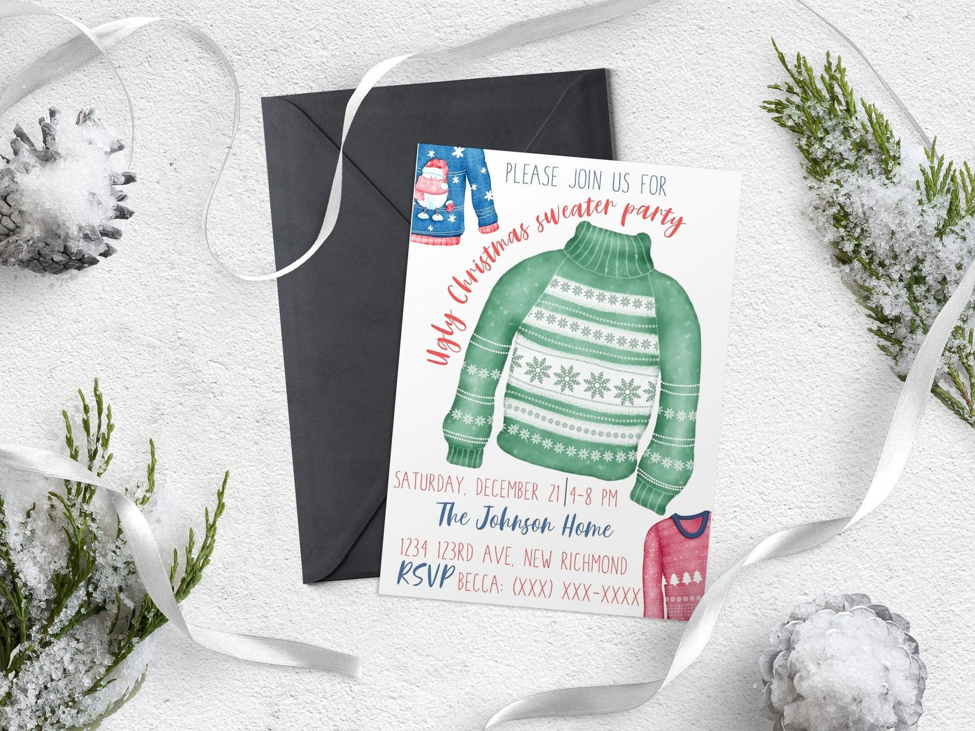 Christmas Party Invitation DIY Christmas Party