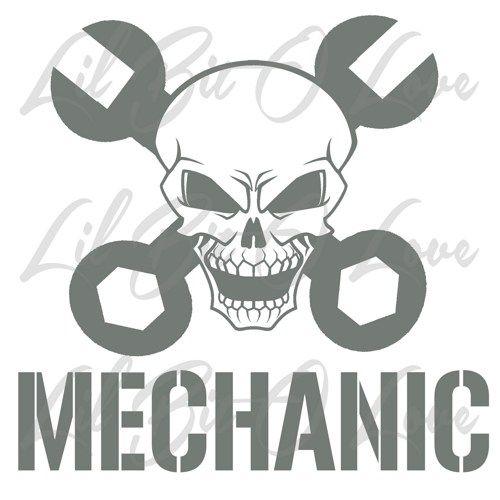 Skull And Cross Wrenches Mechanic Vinyl Car Auto Grease Monkey Sticker Monkey Stickers Skull Stencil Grease Monkey