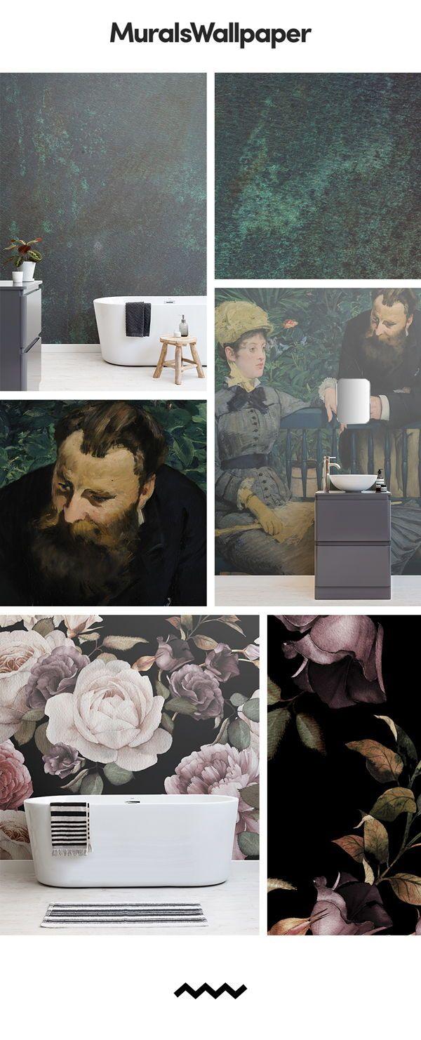 Salle De Bain Papier Peint Ou Peinture ~ une peinture murale de papier peint salle de bain noir est parfait