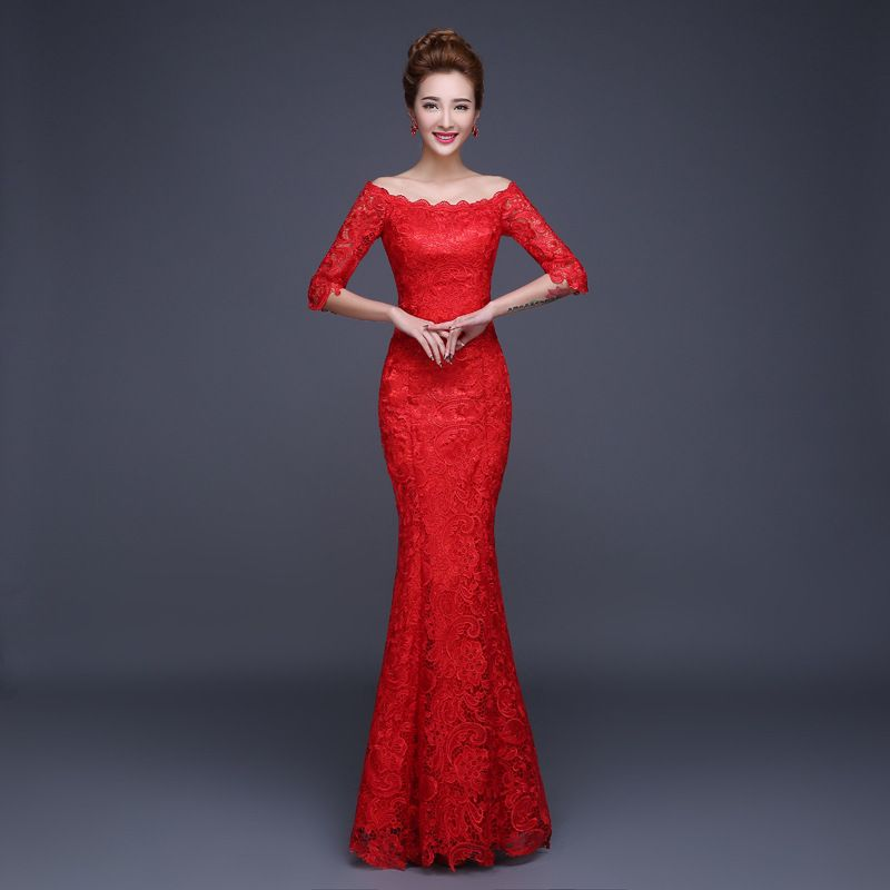 chinese traditional dress 2015 summer style red lace bride wedding ...