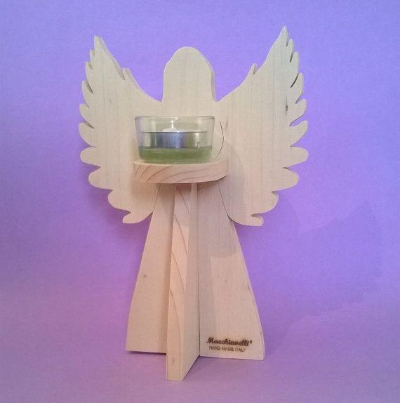 """Portacandele """"Angelo"""" in legno massello di abete realizzato a mano (Cod. CAN001)"""
