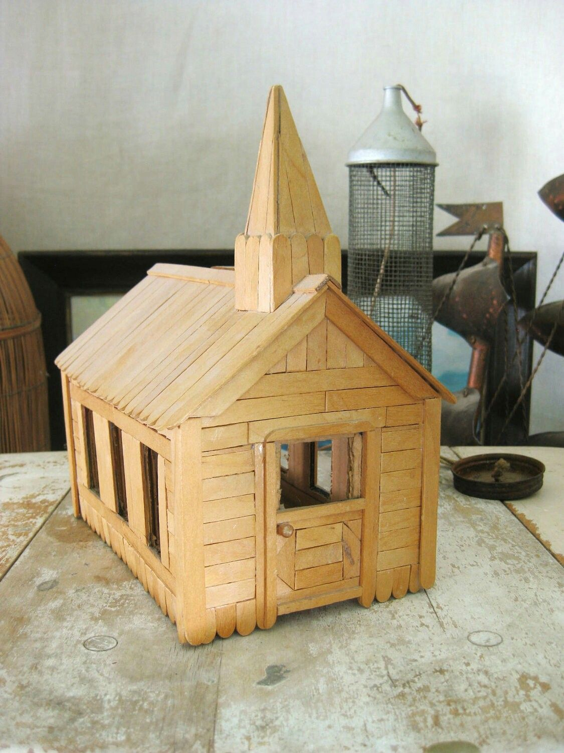 House design using popsicle sticks - This Is A Wonderful Vintage Popsicle Stick Church Signed And Dated Made By A Ww 1 Veteran From Shawneetown Ill