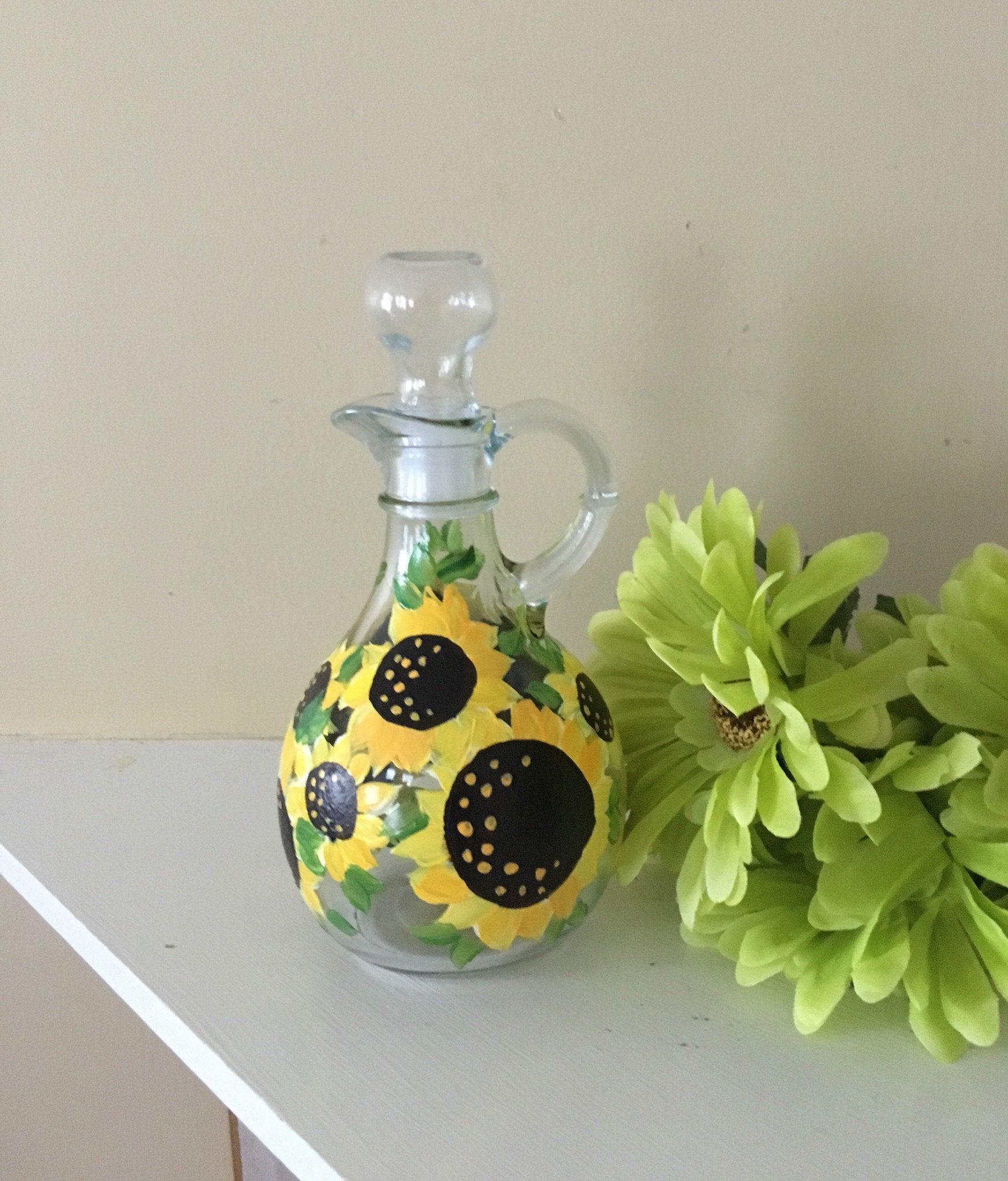Sunflower Oil Bottle, Oil and Vinegar Cruet, Autumn dish ware, Fall Decor, Hand Painted Bottle, Thanksgiving Serving Dish #dishware