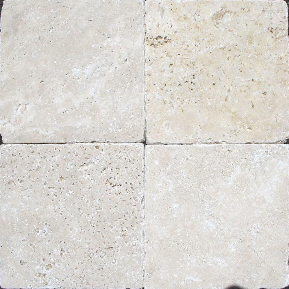 Ms International Chiaro 6 In X 6 In Tumbled Travertine Floor And Wall Tile 1 Sq Ft Case Thdw3 T Ch6x6t Travertine Floors Wall Tiles Natural Stone Tile
