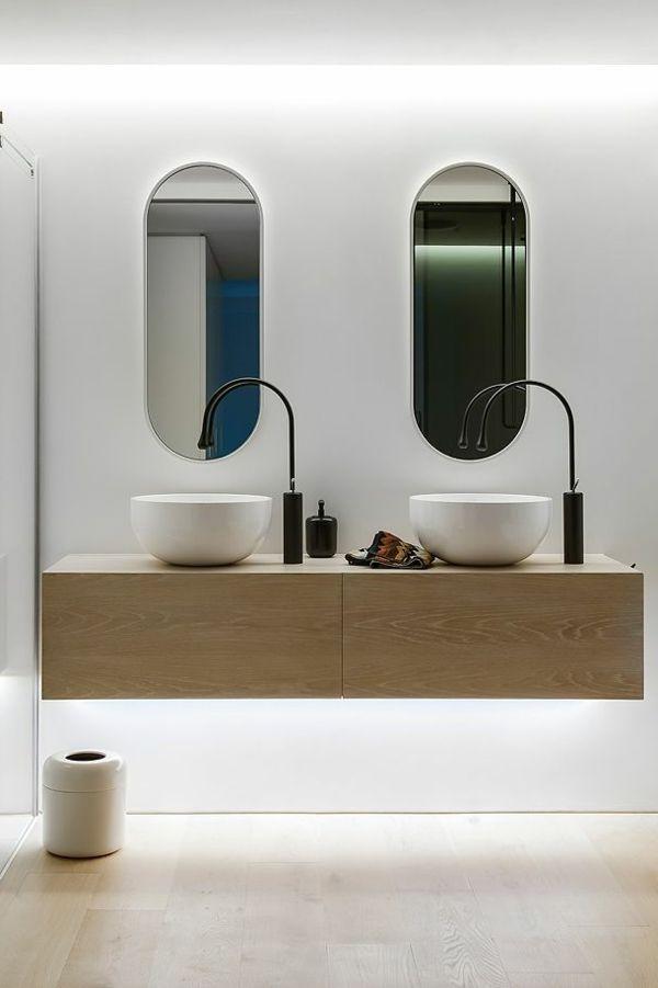 Bad Spiegel Waschbecken Holz Unterschrank | Ideen Rund Ums Haus ... Modernes Badezimmer Designer Badspiegel