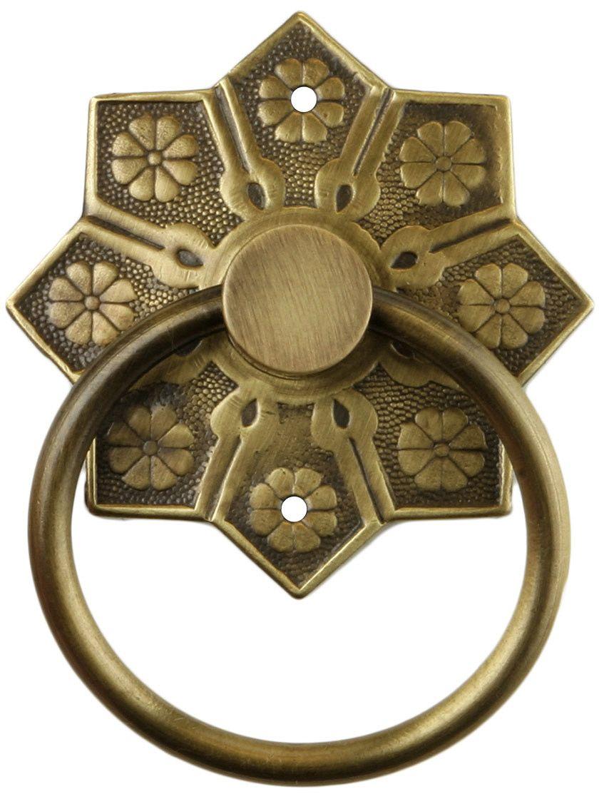 Vintage Cabinet Pulls. Eastlake Star Pattern Ring Pull In Antique-By-Hand - Vintage Cabinet Pulls. Eastlake Star Pattern Ring Pull In Antique