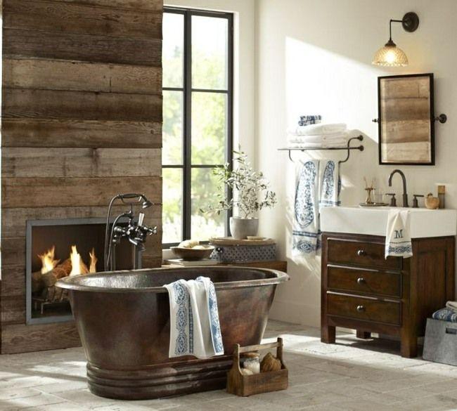 Inspirationen badezimmer im landhausstil  Badezimmer Landhausstil Metall Badewanne Kamin | Badezimmer.. I ...