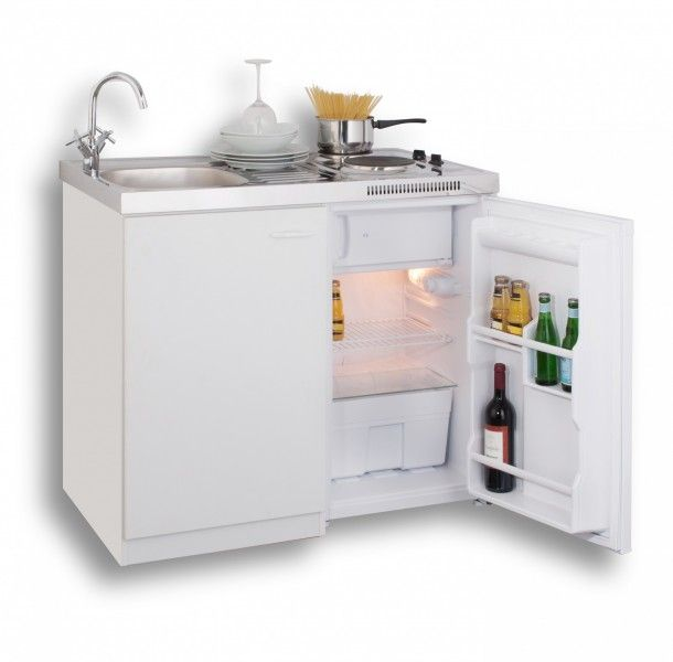 miniküche 100 cm in weiss mit spüle, duo-kochfeld und kühlschrank, Kuchen
