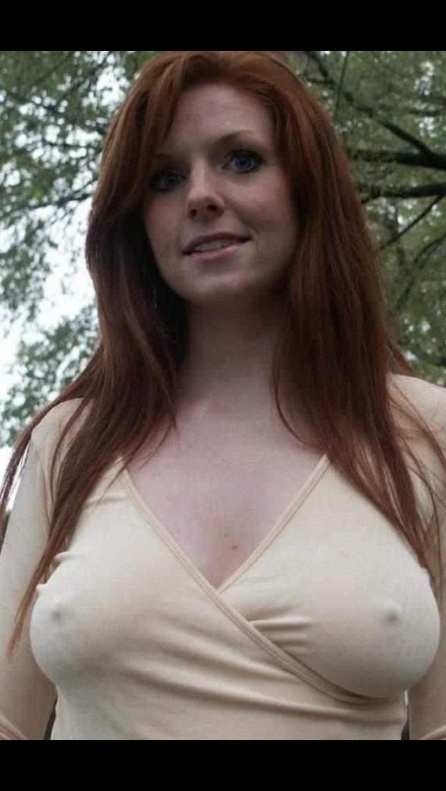 Redhead mature with big saggy tits