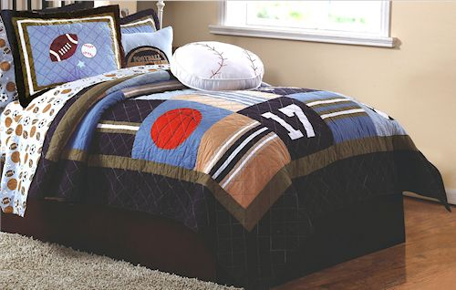 Kids Sports Time Bedding For Boys Full Or Full Queen Size 3pc