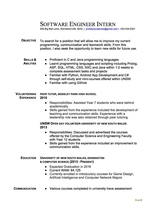 Join The Redditresume Critique Project Software Engineer Intern Resume Resume Software Internship Resume Engineering Resume