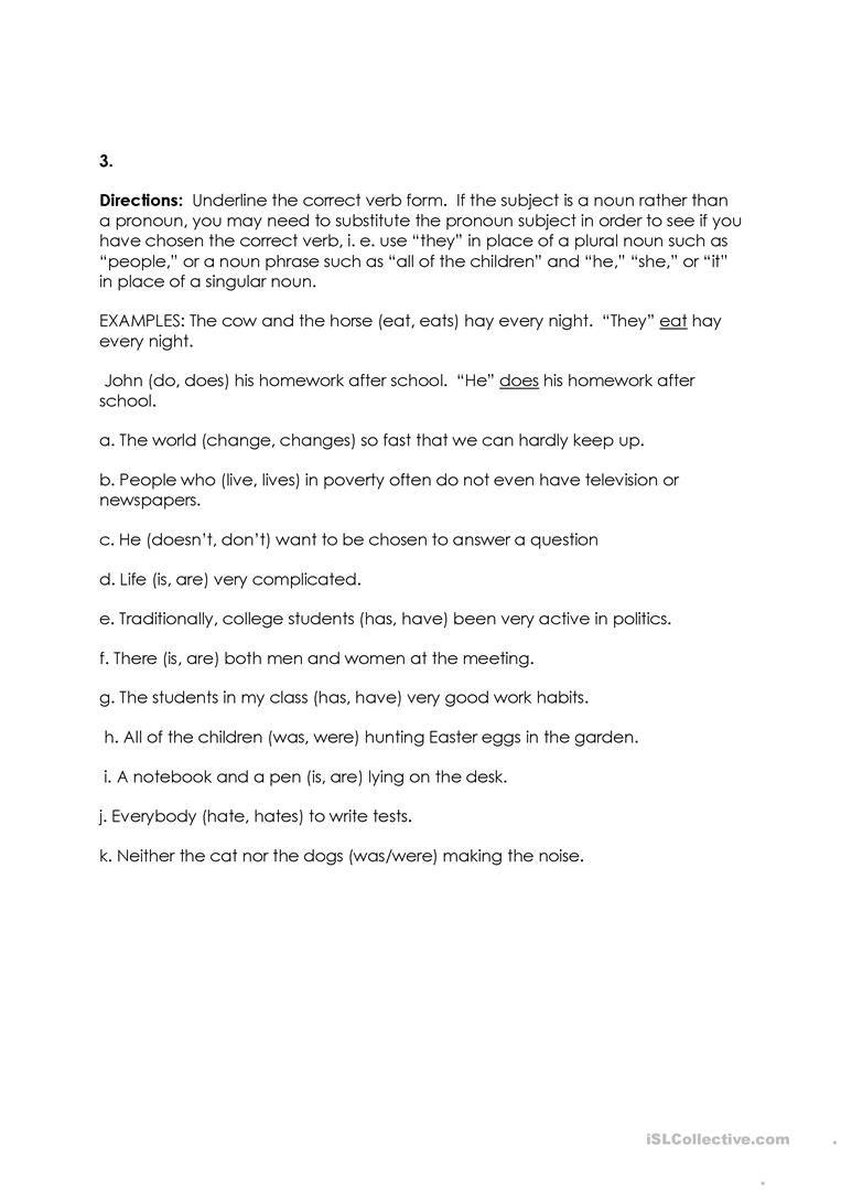 Subject Verb Agreement Worksheet Free Esl Printable Worksheets Made By Teachers Subject Verb Agreement Subject And Verb Verb [ 1079 x 763 Pixel ]