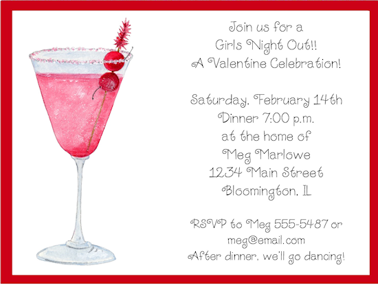 Girls night invitation wording girls night out cocktails girls night invitation wording girls night out cocktails valentines day party invitations invitations stopboris Gallery