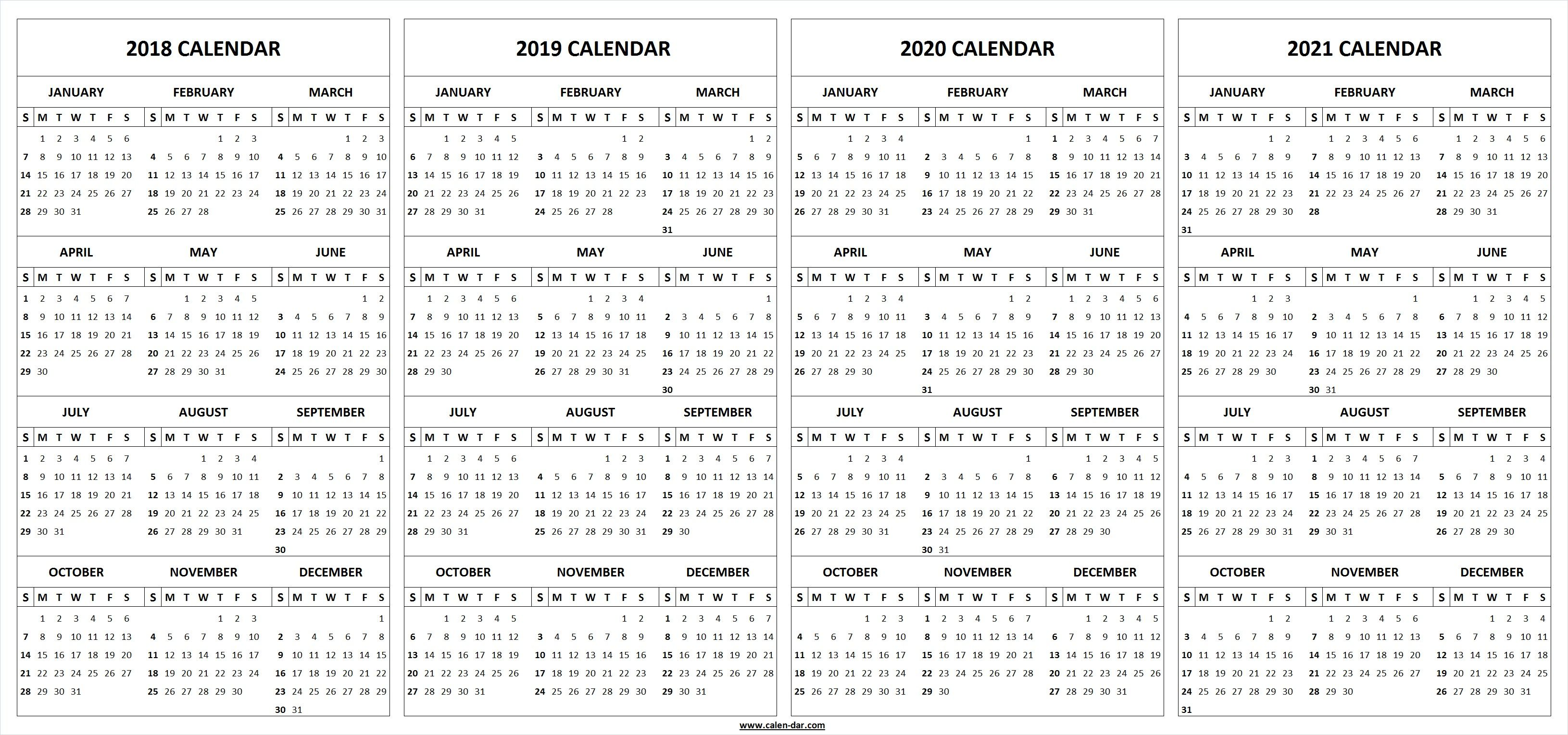 Four Year     Calendar Printable Template