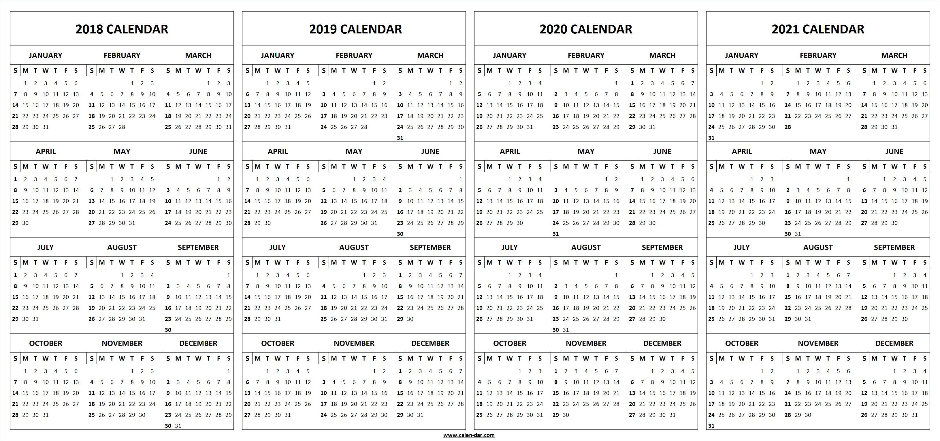 4 Four Year Calendar Printable Template