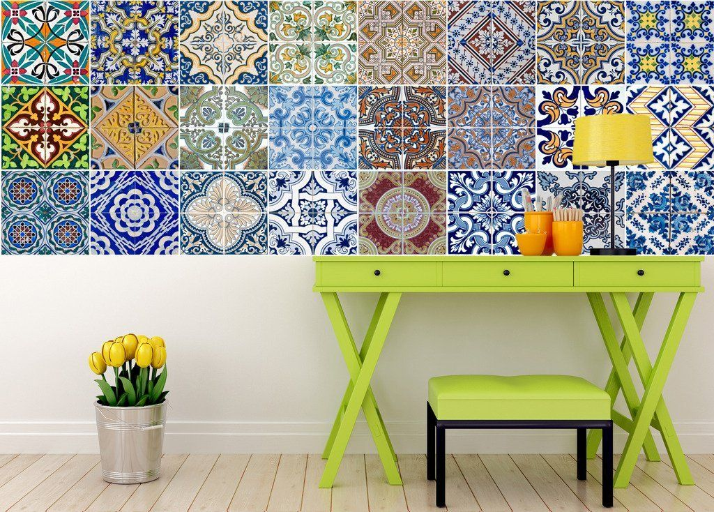 Tile Stickers 24 PC Set Authentic Traditional
