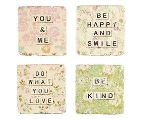 Set de 4 posavasos Happiness