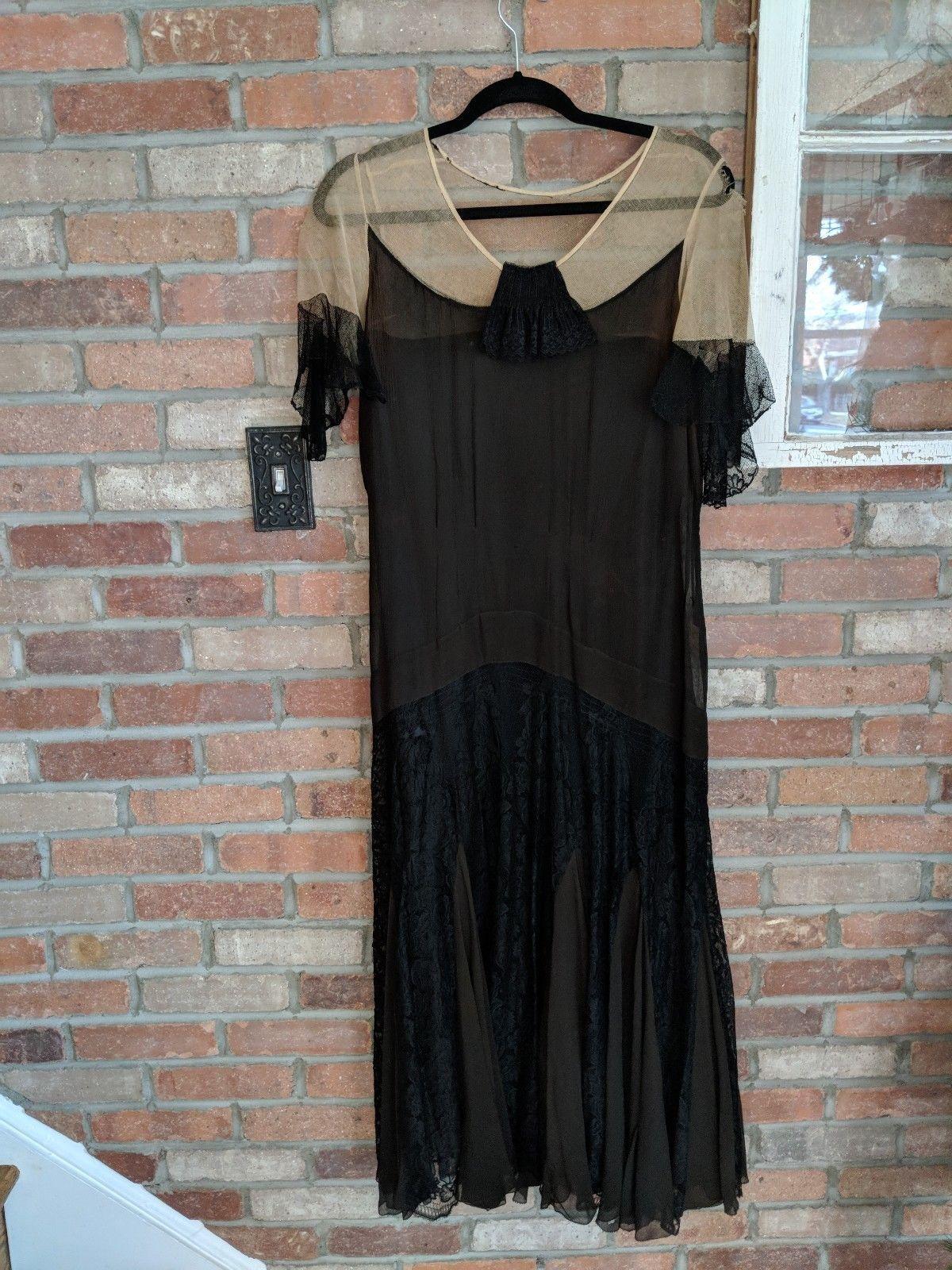 True vintage us drop waist dress crepe and lace ml black