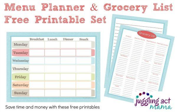 Menu Planner And Grocery List Printable Set  Menu Planners