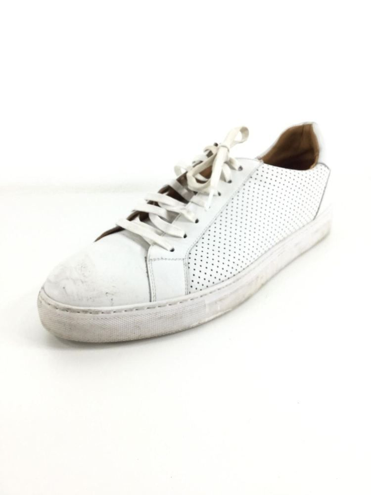1943 Magnanni Perforated White Leather Sneakers Men Size 12