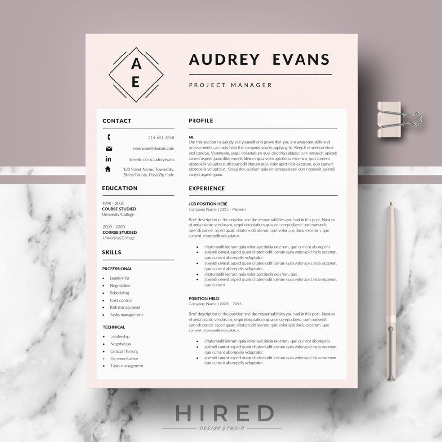 Professional  Creative Resume Template For Ms Word Audrey