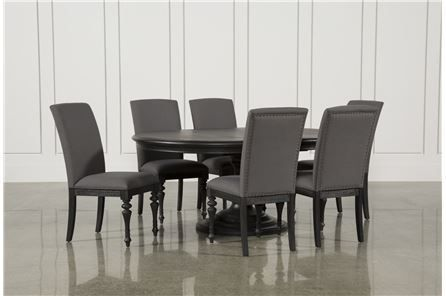 Caira Black 7 Piece Dining Set W/Upholstered Side Chairs   Main