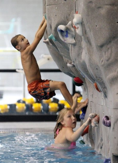In Pool Rock Climbing Wall So Cool If You Slip You Just Fall Into The Water O Love It