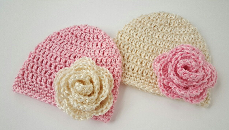 3885eb19aa708 Crochet newborn hats girls Newborn twin hats Baby twin girls hat ...