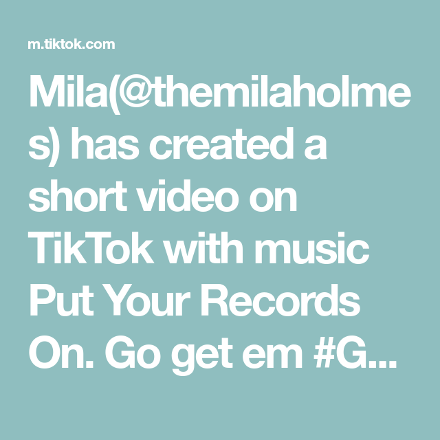 Mila Themilaholmes Has Created A Short Video On Tiktok With Music Put Your Records On Go Get Em Getthelook Ghostphotoshoo Ghost Photos The Originals Music