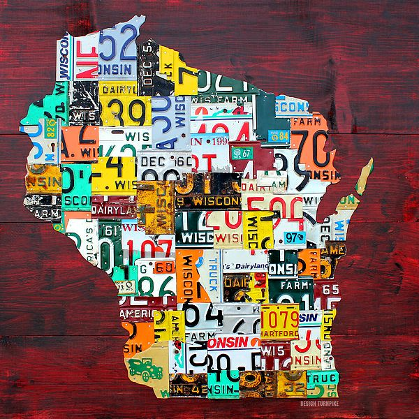 Wisconsin Counties Vintage Recycled License Plate Map Art On Red Barn Wood By Design Turnpike License Plate Art License Plate Crafts License Plate Decor