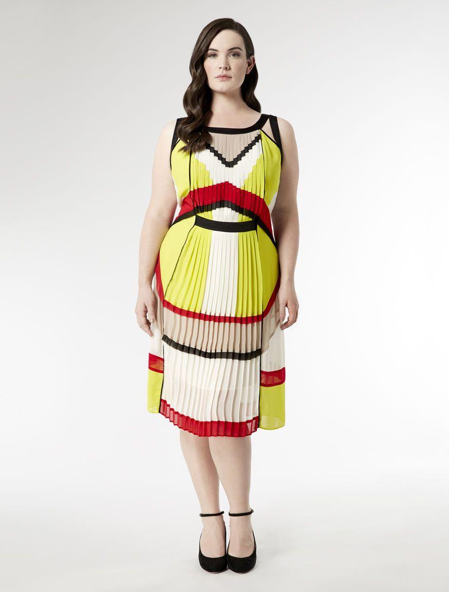 Knee length dress with pleated panels white marina