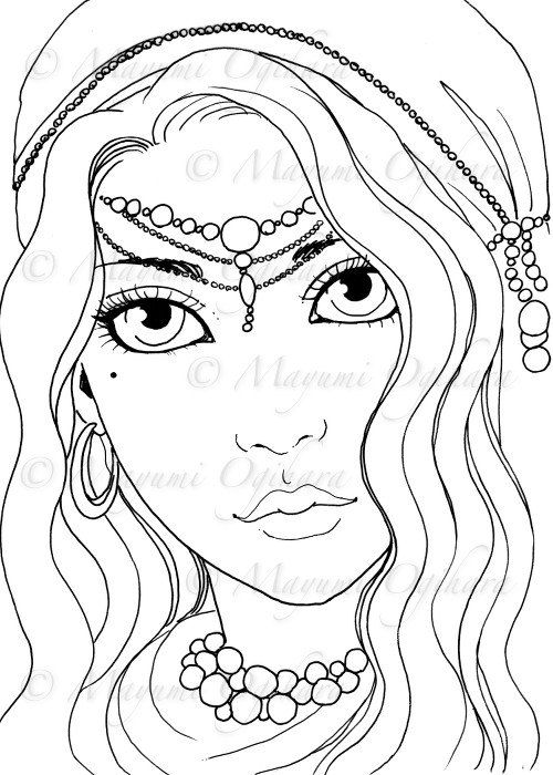 Gypsy Girl - digital stamp, colouring page, printable, instant ...