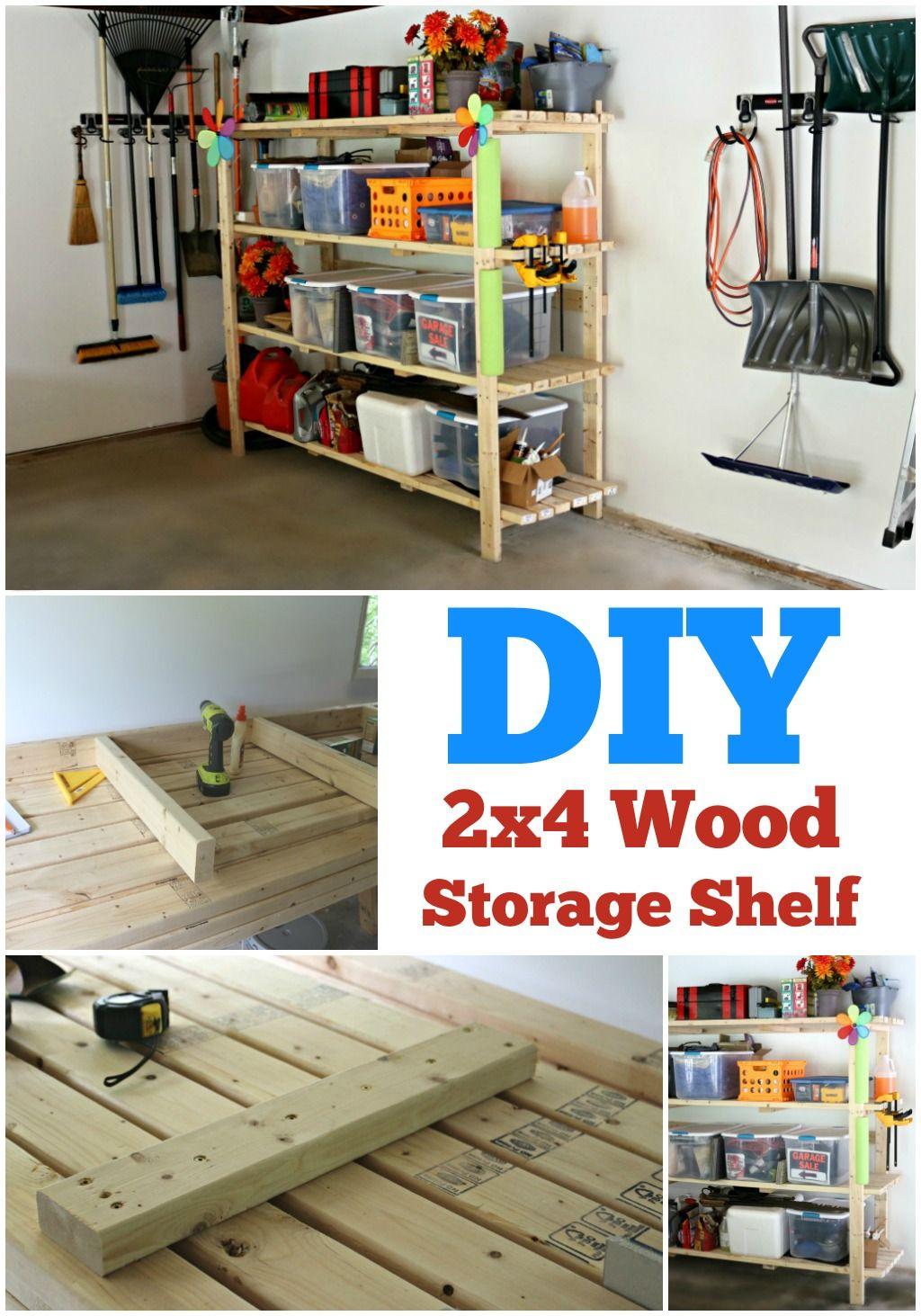 2x4 DIY Wood Storage Shelf! Step by step instructions to