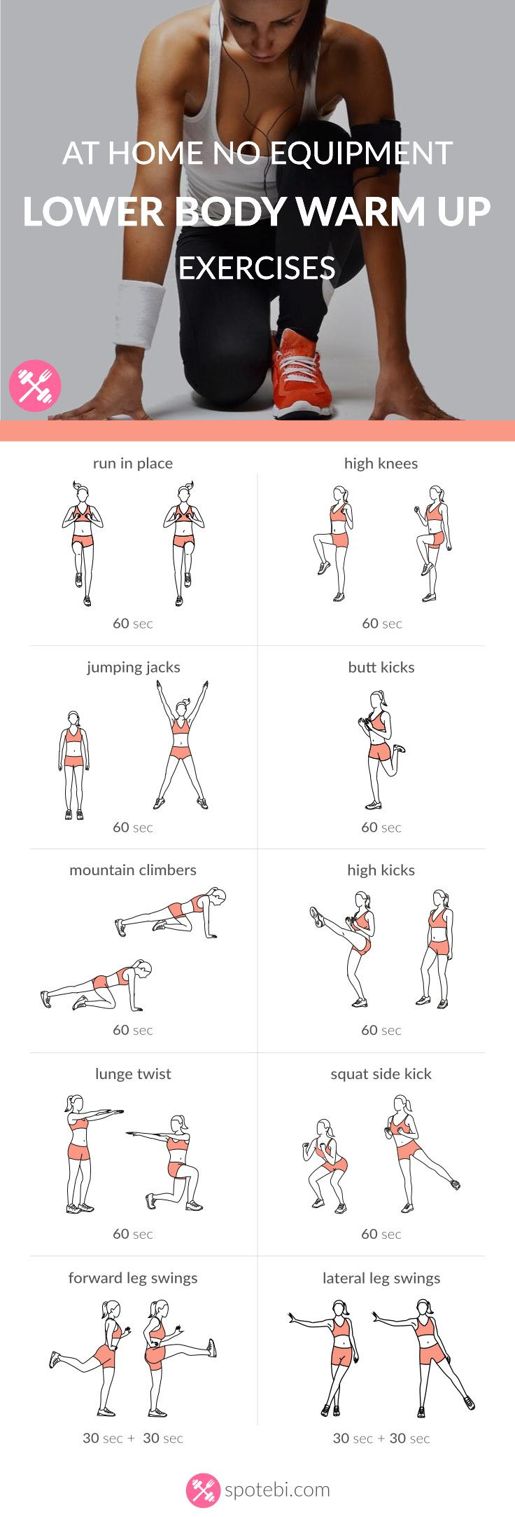At Home No Equipment Lower Body Warm Up Exercises   Burn ...