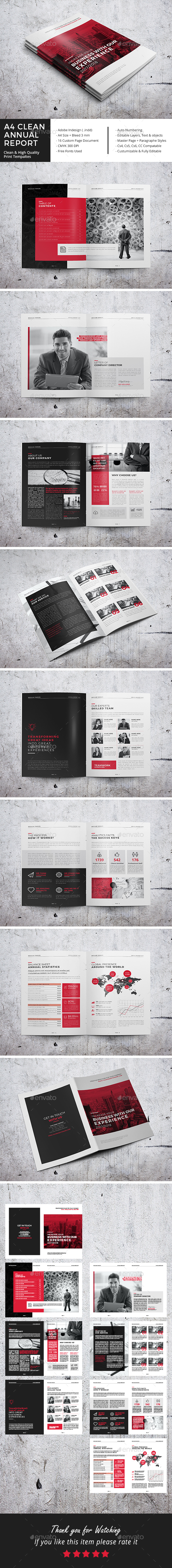 Clean Annual Report Brochure Template InDesign INDD - 16 Pages ...
