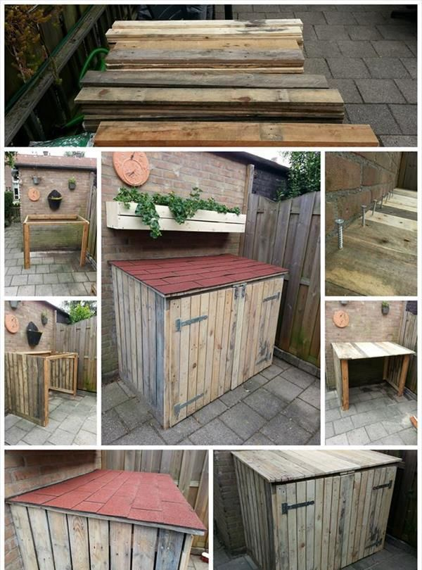 tutorial pallet storage bin project plet pinterest palette bricolage et poubelle. Black Bedroom Furniture Sets. Home Design Ideas