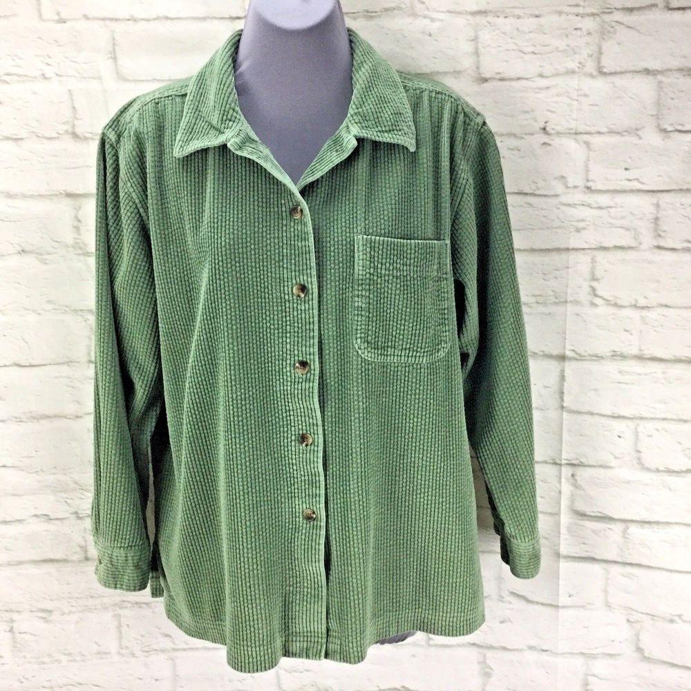 Ll Bean Comfort Wide Wale Corduroy Big Shirt Womens Lp Petite Green