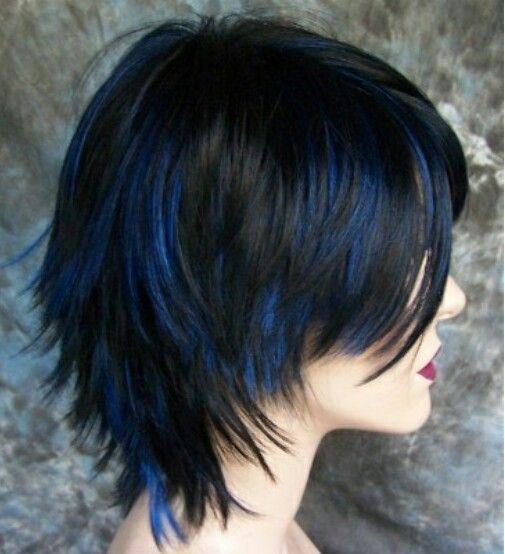 Strange Blue Dark Hair Withlight Blue Highlights Color Short Hairstyles For Black Women Fulllsitofus