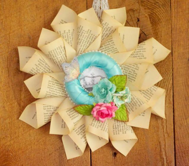 Shabby Chic book wreath.