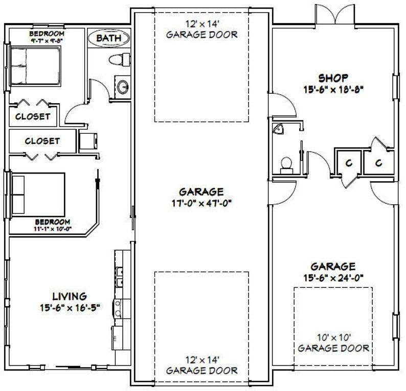 50x48 1 RV 1 Car Garage 2 Br 1.5 Ba PDF Floor Plan