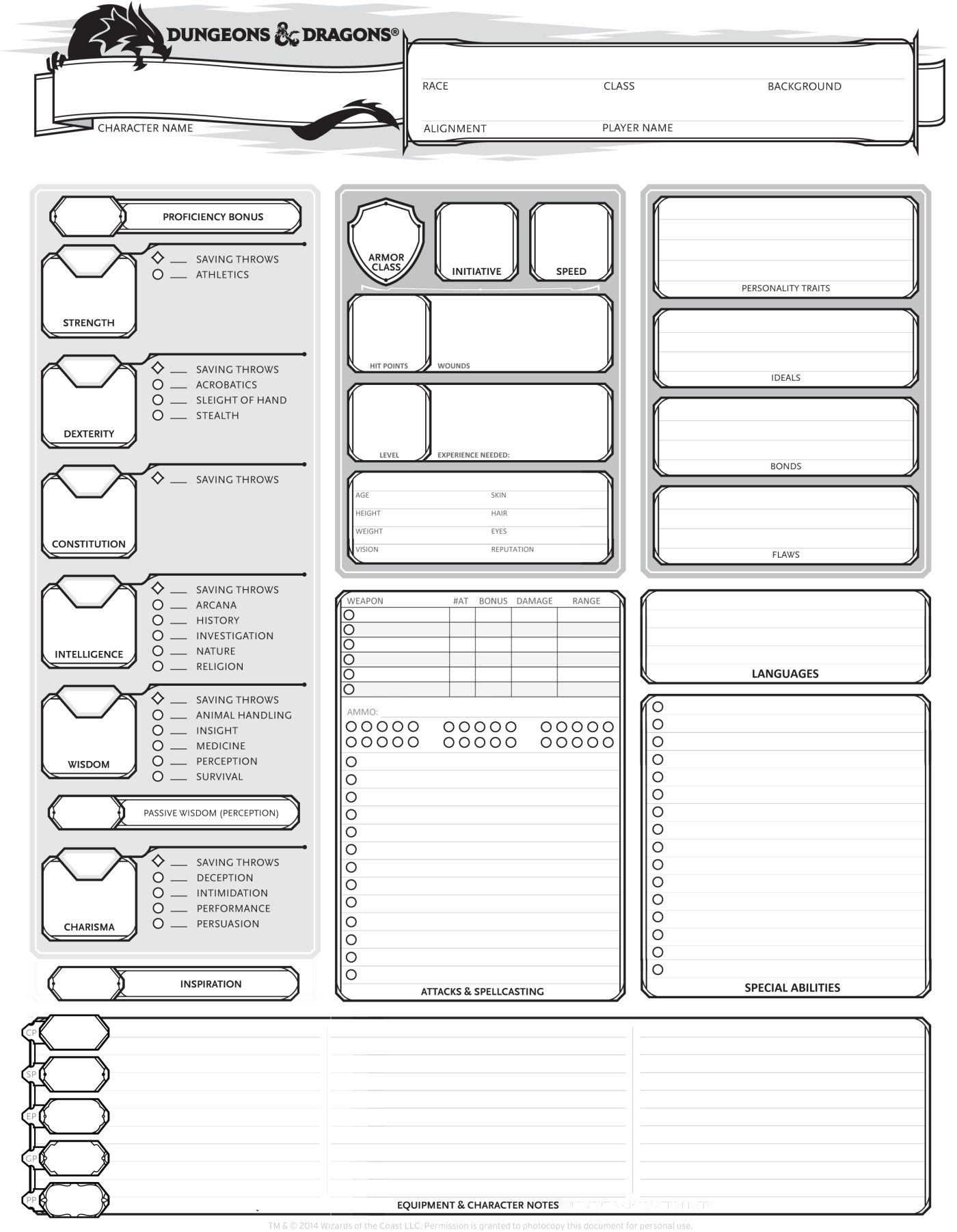 dungeons dragons 5th edition character sheet dungeon dragons