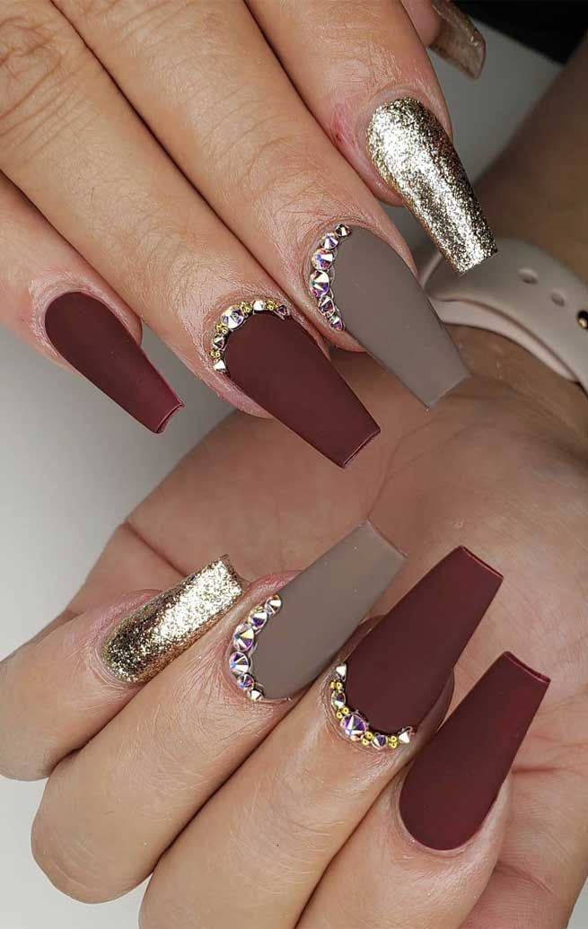 Try These Fashionable Nail Ideas That Ll Boost Your Fall Mood Fall Acrylic Nails Matte Nails Design Matte Nail Art
