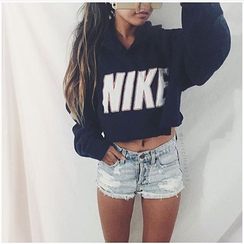 8646ac72be1 Nike Hoodie and Denim shorts  nike Outfits With Jean Shorts