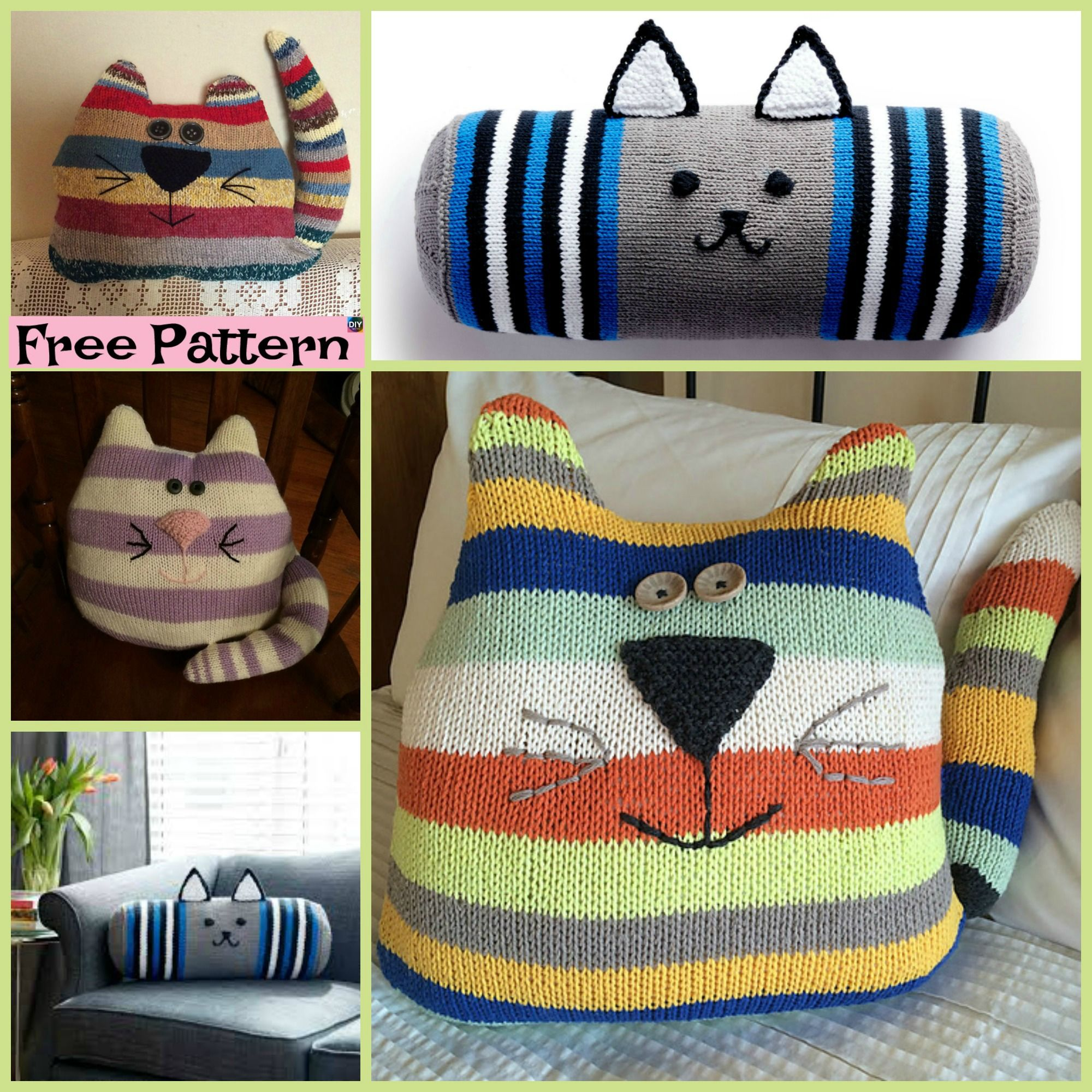 free cat cushion cover to knit # 6