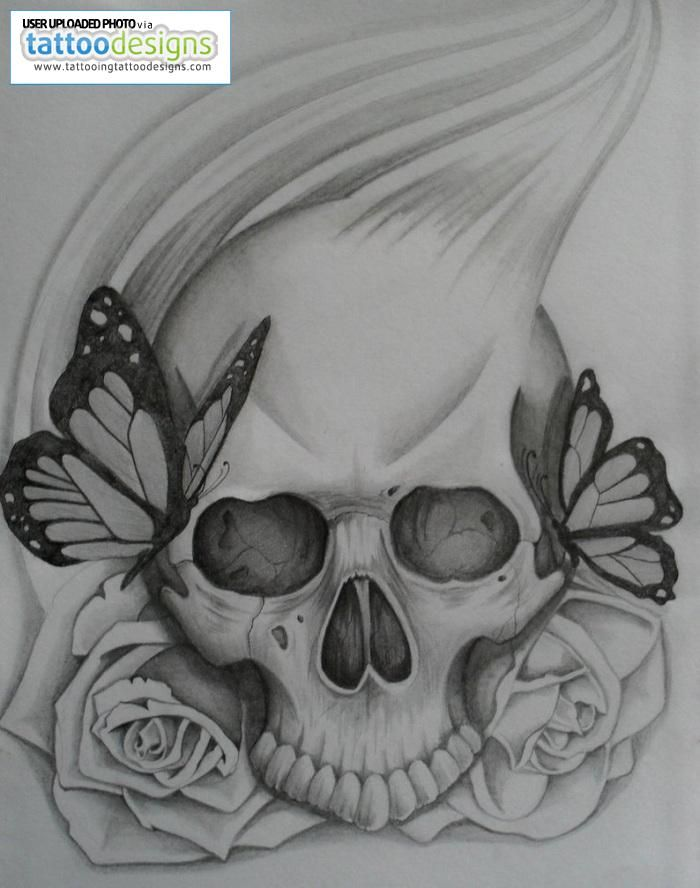 love it skull rose and butterfly by steve bxa image tattooing tattoo designs my style. Black Bedroom Furniture Sets. Home Design Ideas