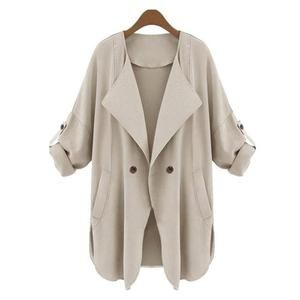 FEITONG Autumn Winter Coat 2017 New Arrival Open Stitch Womens Khaki Blue Ruffle Long Sleeve Top Coat Jacket Female Outerwear#3