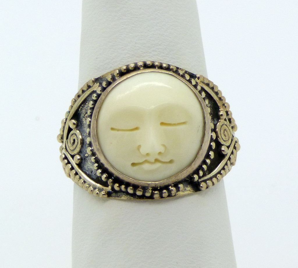 Balinese Bone Carved Face Sterling Silver 925 Ring Size 7 5 925 Silver Rings 925 Sterling Silver Silver